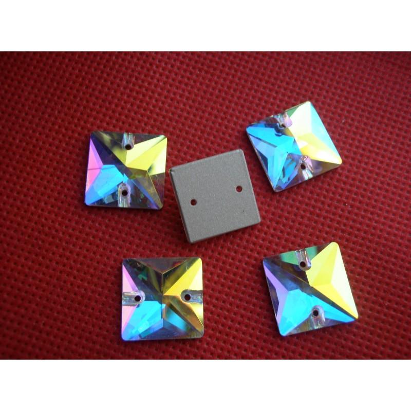 DMC Sew On square 14x14mm Crystal AB